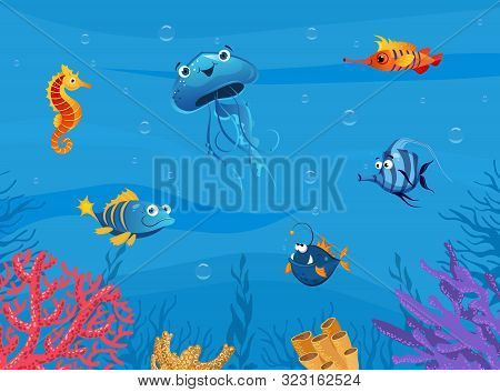 Undersea World, Cute Marine Animals Background, Underwater Sea Scene With Tropical Fishes Vector Ill