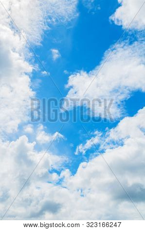 Dramatic blue sky background. Picturesque colorful clouds lit by sunlight. Vast sky landscape panoramic scene. Colorful sky scene, sunny sky background