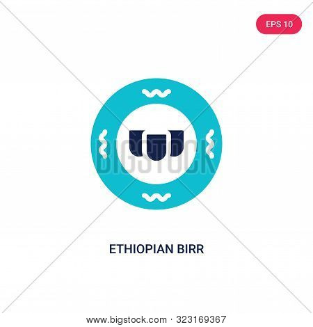ethiopian birr icon in two color design style.