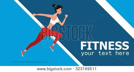 Strong Athletic Woman Sprinter Running. Fitness And Workout Vector Illustration. Beautiful Woman Wea