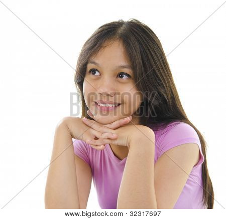 Asian teen having thought on white background
