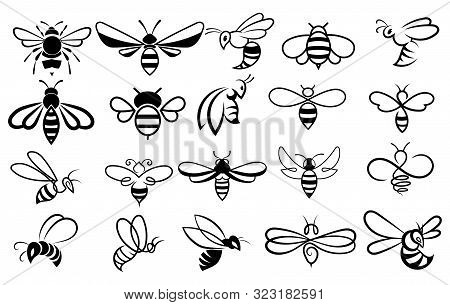 Set Of Bees. Collection Of Stylized Honey Bees For The Logo. Black And White Illustration Of A Farm