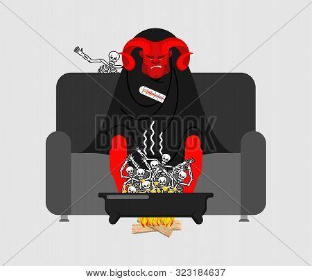 Devil Sick Sitting In Armchair Wrapped In Blanket. Sinners In Pelvis. Satan Illness Sneezing. Unhapp
