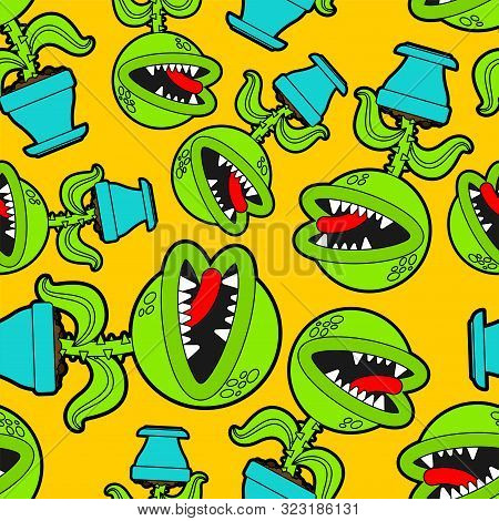 Flytrap In Pot Pattern Seamless. Flower Predator Carnivorous Plant Background . Angry Flowers With T
