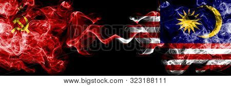Communist Vs Malaysia, Malaysian Abstract Smoky Mystic Flags Placed Side By Side. Thick Colored Silk