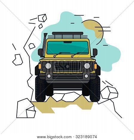 Off Road Car. Driving In Mountains. 4x4 Car. Editable Vector Illustration In Bright Colors. Explorat