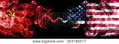 Communist Vs United States Of America, American Abstract Smoky Mystic Flags Placed Side By Side. Thi