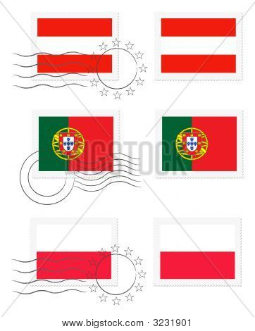 Austria, Portugal And Poland Flags