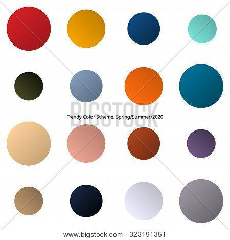 Trendy Color Design Scheme By Gradient. Spring And Summer 2020