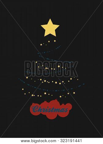 Abstract Christmas Tree Made Of Abstract Blue Baubles Yellow Stars And Red Silhouette Baubles As Bas