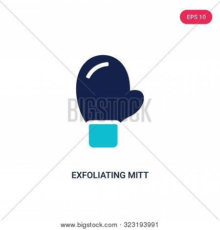 exfoliating mitt icon in two color design style.