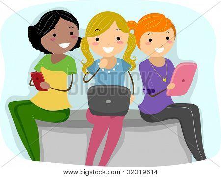 Illustration of Girls Using Tablet PCs