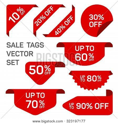 Red Discount Sale Labels Set. Vector Tag, Promo Badge, Sticker Off Templates. Promo Icons, Product S