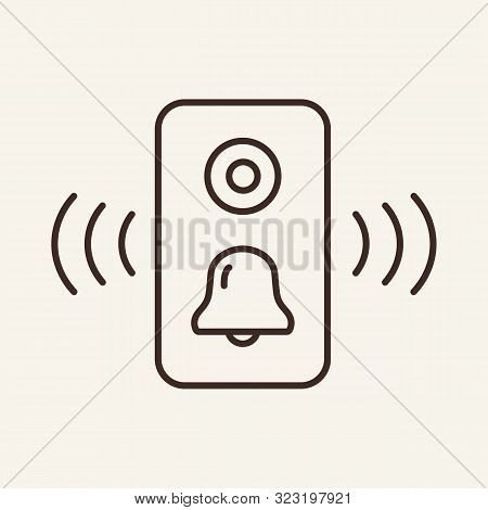 Doorbell Line Icon. Mobile, Keylock, Alarm. Smart House Concept. Vector Illustration Can Be Used For