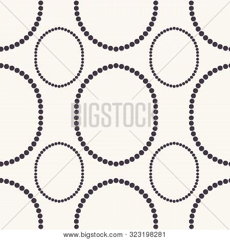 Seamless Pattern. Hand Drawn Polka Dot Background. Monochrome Dotty Black And White Oval Circle. All
