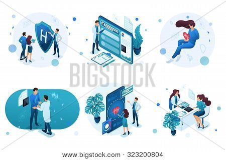 Set Of Isometric Concepts For Advertising And Creating Landing Pages On The Theme Of Medicine. Docto