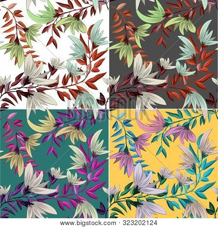 Beautiful Invitation With Flowers For Print Design. Abstract Flower Pattern. Vector Floral Print. Vi