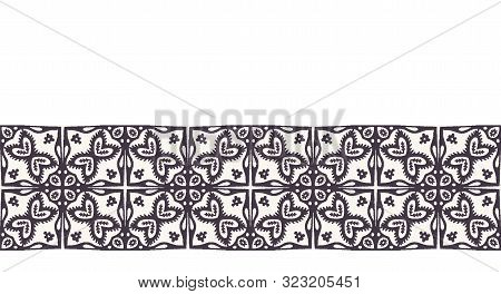 Seamless Border Pattern Hand Drawn Ornamental Azulejo Mosaic Background. Geometric Monochrome Stripe