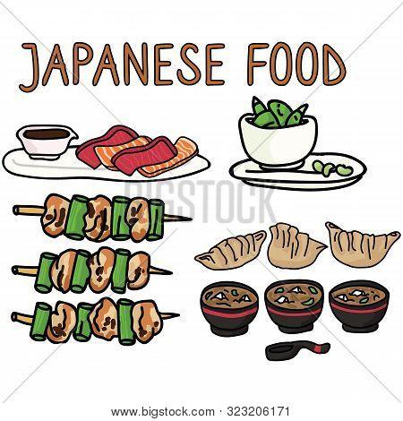 Cute Selection Of Japanese Food Illustration. Sashimi, Edamame, Yakitori, Gyoza And Miso Soup Cookin