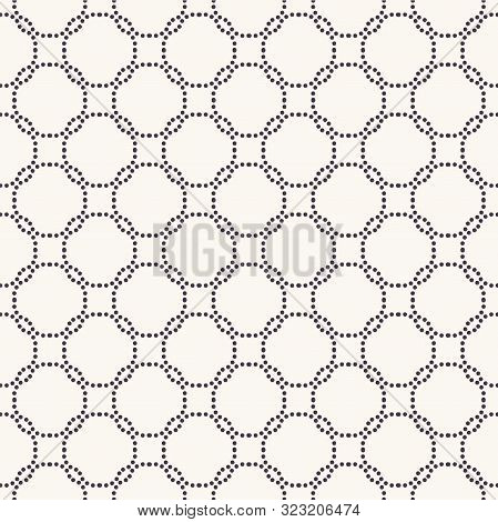 Seamless Pattern. Hand Drawn Interlocking Polka Dot Background. Monochrome Dotty Black And White Cir