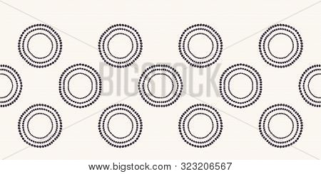 Seamless Border Pattern. Hand Drawn Polka Dot Background. Monochrome Dotty Black And White Oval Circ