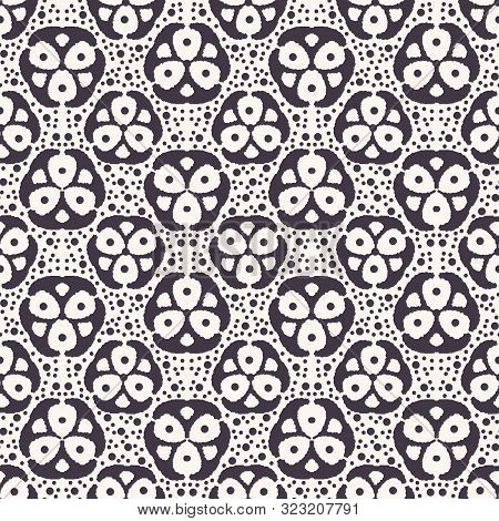 Seamless Pattern. Hand Drawn Tri Polka Dot Background. Monochrome Dotty Black And White Floral Circl