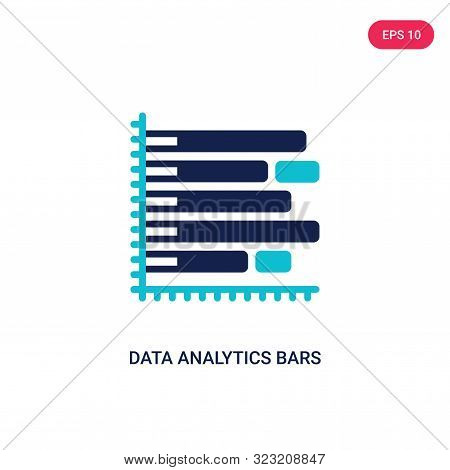 data analytics bars chart with descendant line icon in two color design style.
