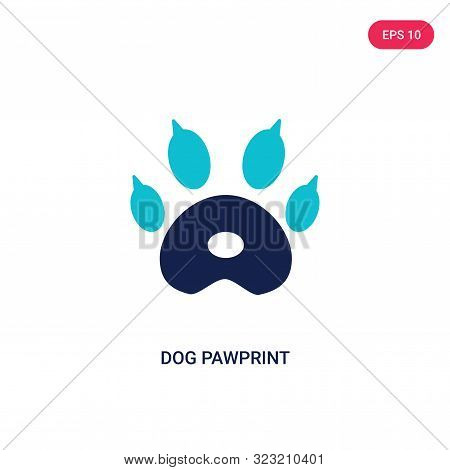 dog pawprint icon in two color design style.