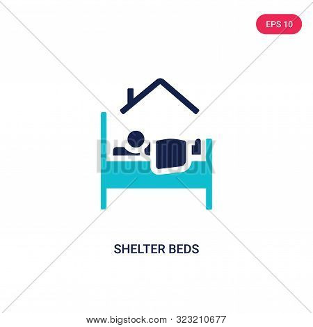 shelter beds icon in two color design style.
