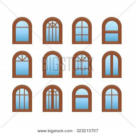 Arched & Arch Wooden Window. Casement & Awning Window Frames. Flat Icon Set. Vector Illustration. Is
