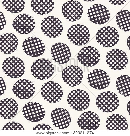 Seamless Pattern. Hand Drawn Imperfect Polka Dot Spot Shape Background. Monochrome Textured Dotty Bl