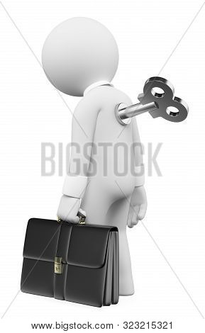 3d White People Illustration. Man Winding Up Key In Back. Isolated White Background.
