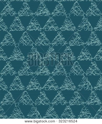 Christmas Geometric Triangle Grid Seamless Pattern. Hand Drawn Textured Vector Background. Festive X