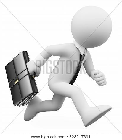 3d White People Illustration. Businessman Running With A Suitcase. Isolated White Background.