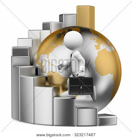 3d White People Illustration. Businessman Climbing To The Top Of The World On A Bar Graph. Metaphor.