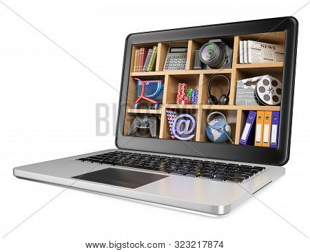 3d Illustration. New Technologies. Multimedia Concept. Isolated White Background.