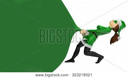 3d Green Christmas People Illustration. Woman Superhero Pulling A Huge Gift Bag. Blank. Isolated Whi
