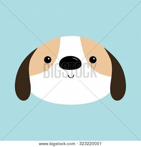 poster of Dog face head round icon. White puppy pooch. Cute cartoon kawaii funny baby character. Flat design style. Help homeless animal concept. Adopt me. Pet adoption. Blue background. Isolated. Vector