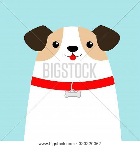 poster of Dog face head. White puppy pooch. Red collar bone. Cute cartoon kawaii funny baby character. Flat design style. Help homeless animal concept. Adopt me. Pet adoption. Blue background. Isolated. Vector
