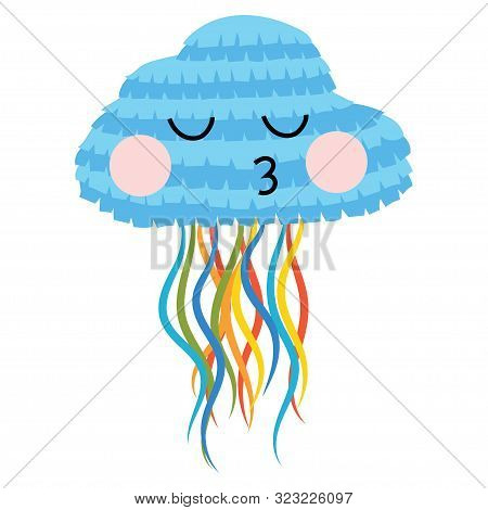 Pinata Jellyfish For The Holiday. Cartoon Pinata Jellyfish For Birthday. Vector Illustration For Kid
