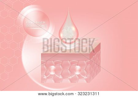 Hyaluronic Acid Skin Solutions Ad, Pink Collagen Serum Drop With Cosmetic Advertising Background Rea
