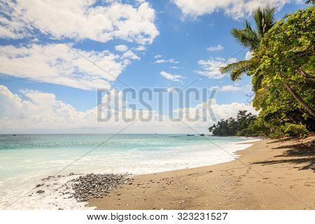 Scenic view of an empty beach in Corcovado National Park in Costa Rica