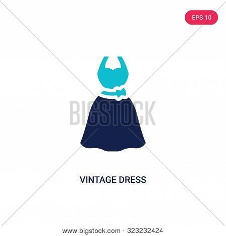 Vintage Dress Icon In Two Color Design Style. Vintage Dress Vector Icon Modern And Trendy Flat Symbo