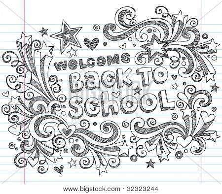 Hand-Drawn Welcome Back to School Sketchy Notebook Doodles with Lettering, Shooting Stars, and Swirls- Vector Illustration Design Elements on Lined Sketchbook Paper Background
