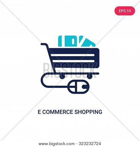 e commerce shopping cart tool icon in two color design style.