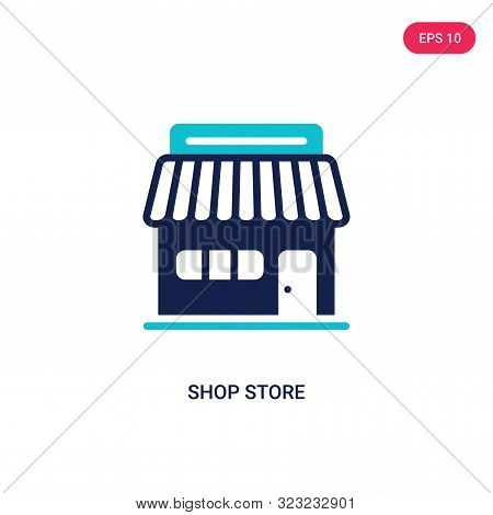 shop store icon in two color design style.