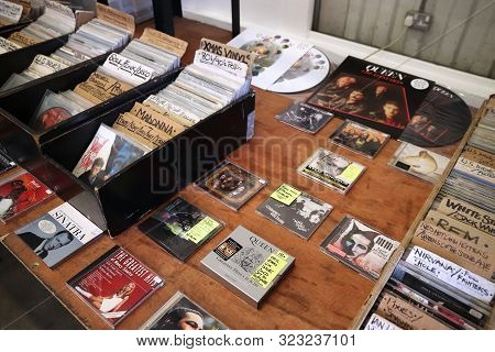 London, Uk - July 13, 2019: Collectible Cds And Vinyl Records At Backyard Market In Spitalfields Dis