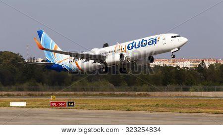Borispol, Ukraine - September 10, 2019: A6-feu Flydubai Boeing 737-800 Aircraft Departing From The B