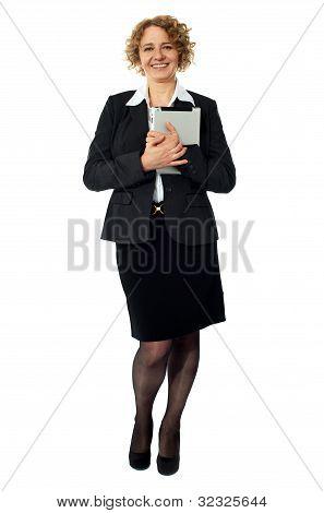 Female Excutive Holding Apple I-pad