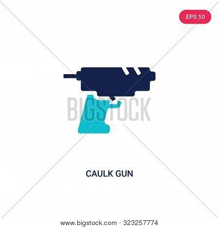 caulk gun icon in two color design style.